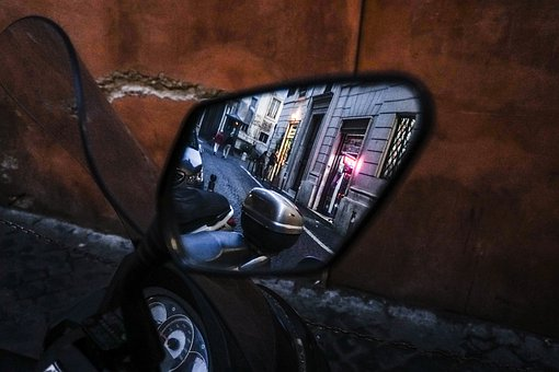 Rearview Mirror, View, City, Rome, Reflection, Auto