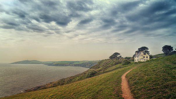 Coast, Cornwall, Sea, Away, Meadow, England, House
