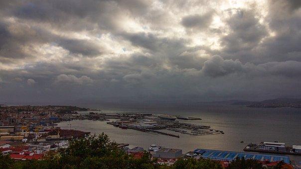 Vigo, City, Port, Spain, Industry, Sea, Storm, Rain