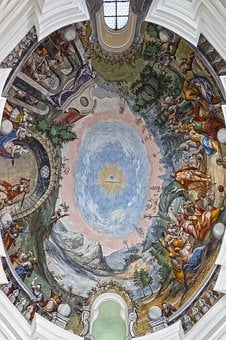 Rococo, Fresco, Ceiling Painting, Sky, Eye, God, Jesus