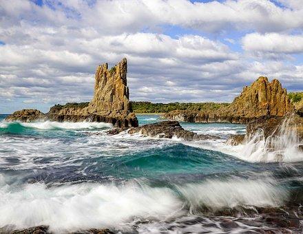 Wave, Motion, Sea, Rock, Splash, Clouds, Power, Current