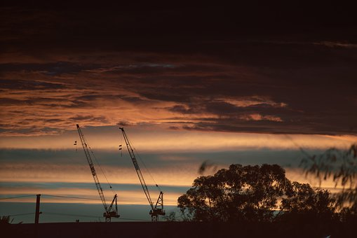 Sky, Industry, Crane, Construction, Sunset, Technology