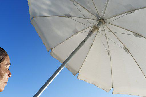 Woman, Summer, Beach, Sunbathing, Umbrella, Vacation