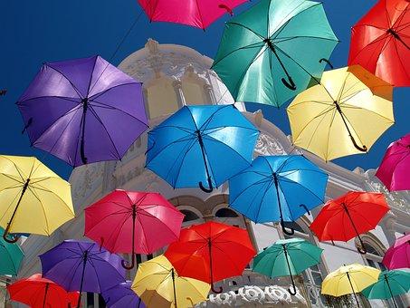 Umbrella, Parasol, Colorful, Vacation, Summer, Travel