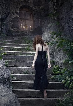 Witch, Sorceress, Fantasy, Dark, Gothic, Stairs, Door