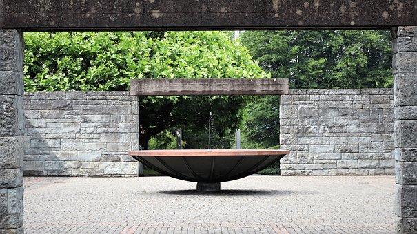 Fountain, Wall, Hof, Architecture, Stone, Park, Masonry