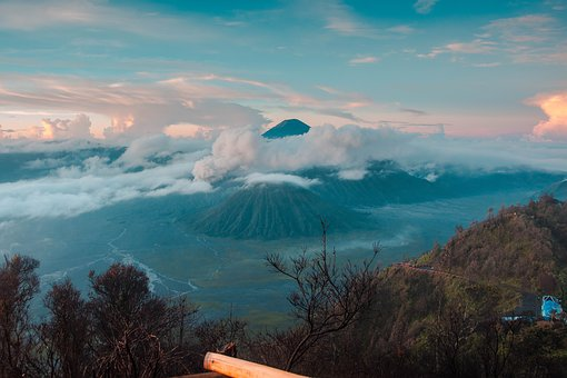 Bromo, Landscape, View, Java, Nature, Mountains, Clouds
