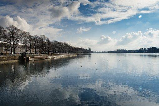 Lake, Hanover, Lake Maschsee, Mirroring, Park, Germany