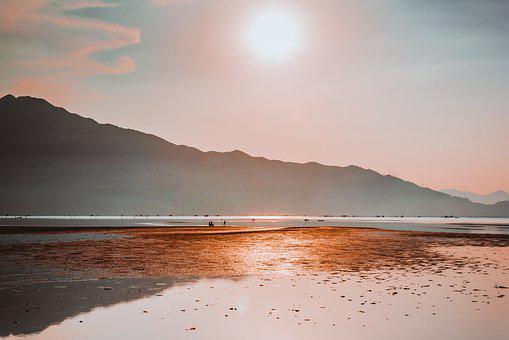 The Sea, Sunset, Landscape, Nature, Lang Co, Mountain