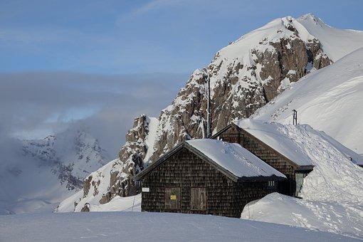 Snow, Mountains, Winter, Austria, Hut, Landscape, Top