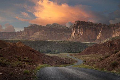 Landscape, Sky, Clouds, Road, Mountain