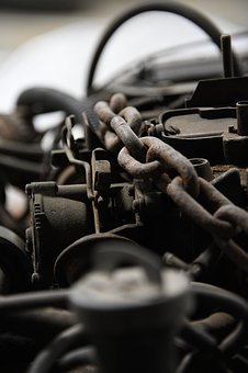 Engine, Metal, Chain, Scrap, Vintage, Mechanic, Repair