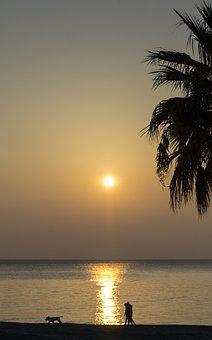 Sea, Dawn, Water, Sky, Landscape, Morning, Sun, Walk