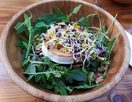 Salad, Goat Cheese, Seedlings, Food, Fresh, Healthy