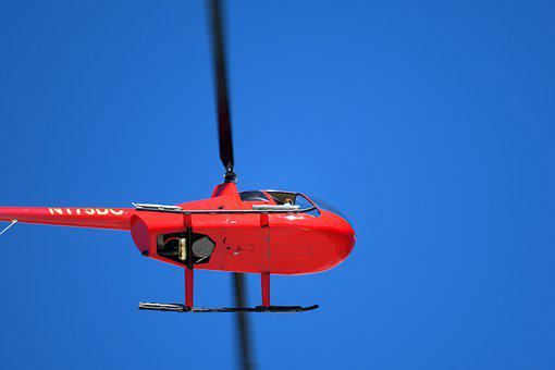 Helicopter, Red, Sky, Rotor Blades, Flying