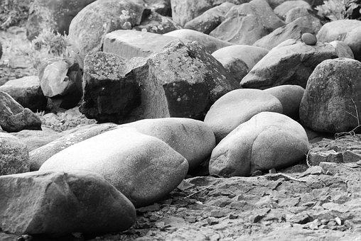 Rocks, Bolders, Stone, Bolder, Solid, Black And White