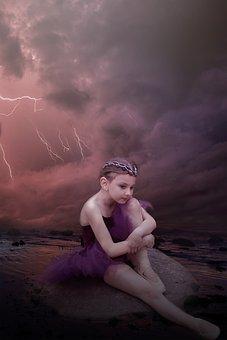 Ballerina, Dancer, Storm, Fantasy, Dark, Female, Girl