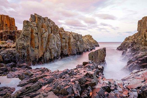 Rock, Sunset, Sea, Nature, Coast, Cliff, Twilight