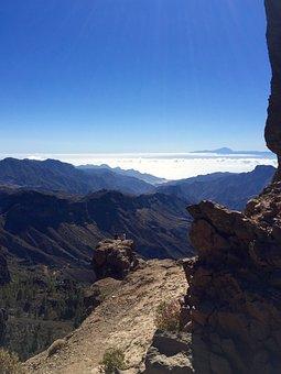 Gran Canaria, Roque Nublo, Landscape, Mountains, Teide