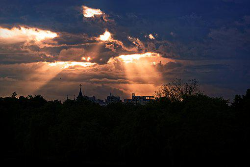 Landscape, Urban, Sunset, Twilight, The Rays Of The Sun