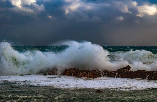 Wave, Crushing, Wild, Water, Spray, Foam, Beach, Storm