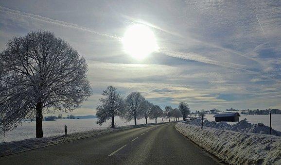 Sun, Wintry, Winter, Snow, Landscape, Road, White, Cold