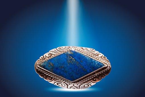 Ring, Silver, Lapis Lazuli, Azurite, Lapis, Blue Shiny