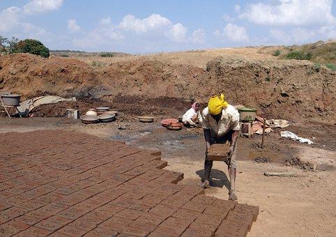 Brick-laying, Brick-making, Worker, Dharwad, India