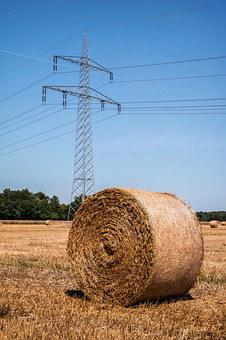 Straw, Current, Strommast, Straw Bales, Field, Harvest