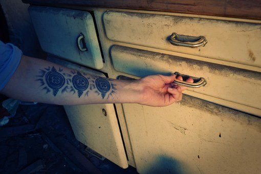 Drawer, Arm, Hand, Opening, Furniture, Old, Dirty