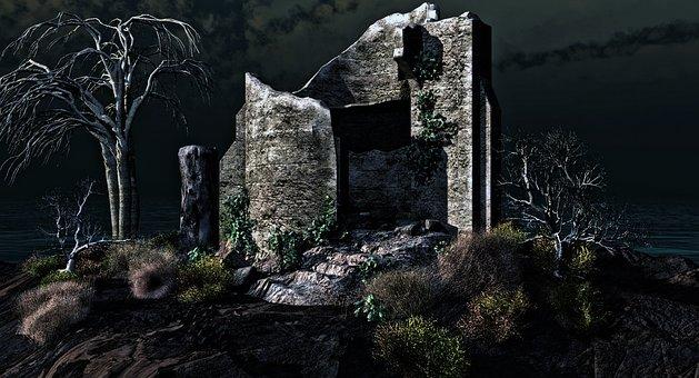 Ruins, Scary, Mystery, Fantasy, Landscape, Dark