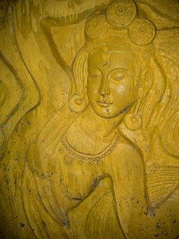 Figure, Goddess, Yellow, China, Fengcheng, Höhenweg