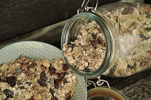 Muesli, Glass, Mason Jar, Food, Breakfast, Cereals