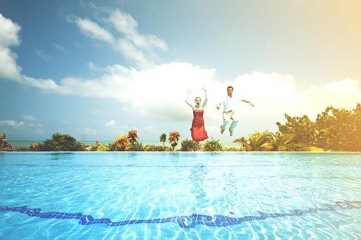 People, Woman, Man, Dressed Up, Jump, Jumping, Pool