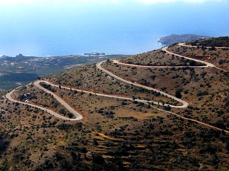 Serpentine, Road, Sea, Perspective, Nature, Mountains