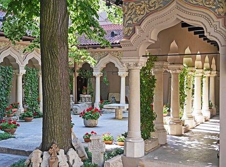 Romanian Orthodox, Courtyard, Moorish, Pillar