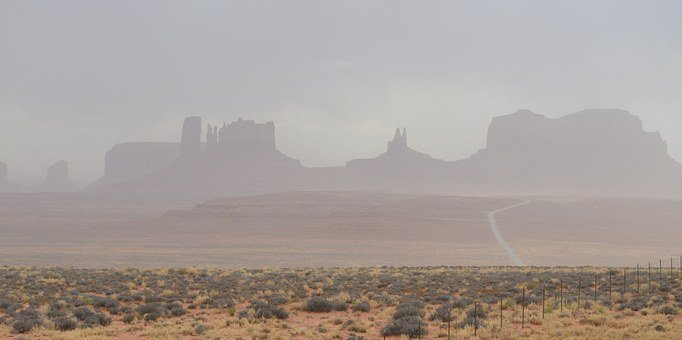Monument Valley, Storm, Path, Dust, Desert, Rock, Red