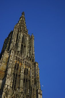 Münster, Ulm Cathedral, Tower, Moon, Church, Dom