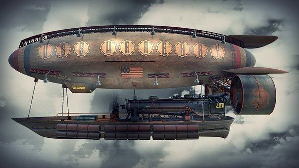 Steampunk, Concept, Airplane, Blimp, Balloon, Aircraft