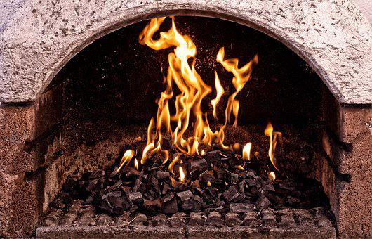 Grill, Bricked, Fire, Flame, Blaze, Embers, Wood Fire
