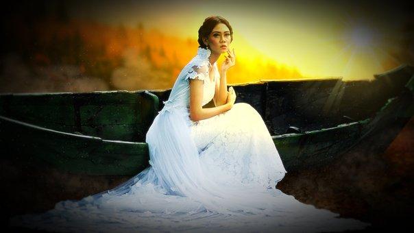 Woman, Bride, Human, Dress, Boat, Romance, White, Love