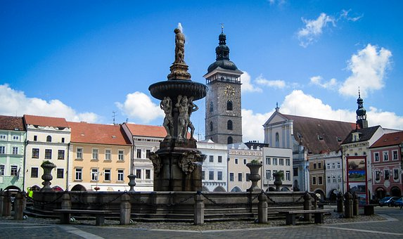 Budweis, Czech Republic, Fountain, Old, Town Square