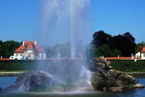 Fanfare, Fountain, Water, Wet, Castle, Munich