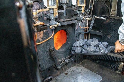 Steam Locomotive, Coal, Shovel, Fire, Train, Rail