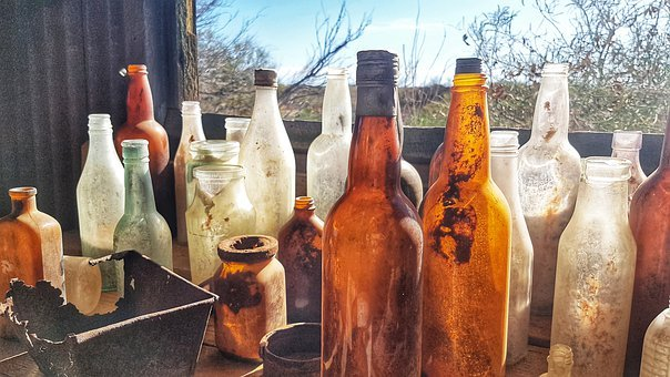 Bottles, Collections, Artistic, Glass, Colored, Drink