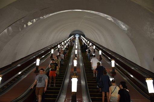 Subway, Moscow, Escalator, Russia, Architecture