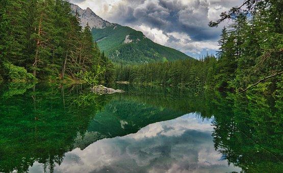 Green Lake, Landscape, Water, Sky, Mirroring, Romantic