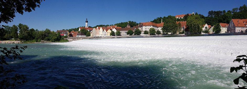 River, Barrages, Lech, Houses, Architecture, Building