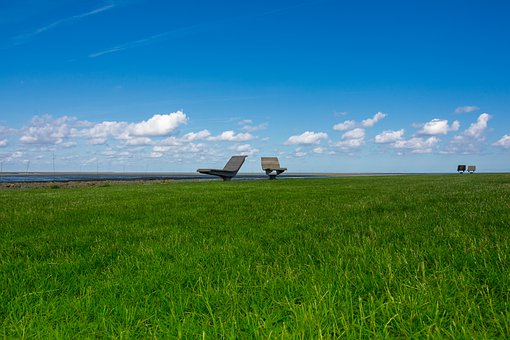 Liège, Rest, Horizon, Relax, Meadow, Grass, Wadden Sea