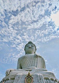 Buddha, Religion, Statue, Temple, Monk, Buddhism, Sky